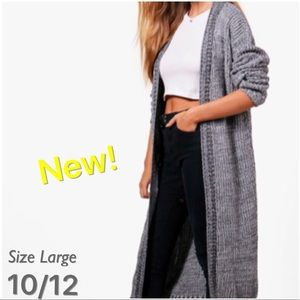 Sweaters - Long Detailed Gray Cardigan Knit Sweater Style